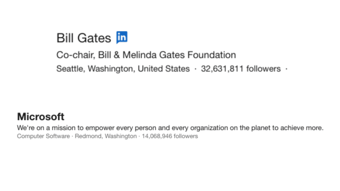 Microsoft and Bill Gates LinkedIn