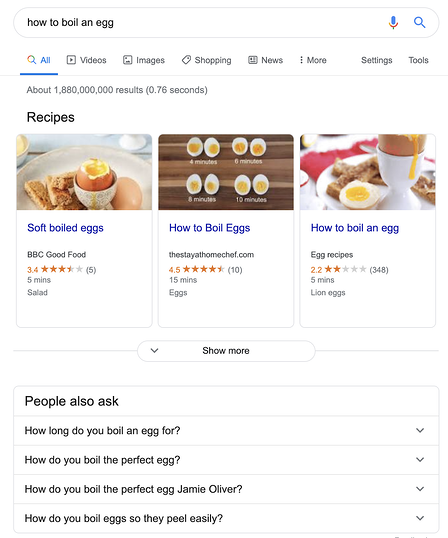 google answer box questions