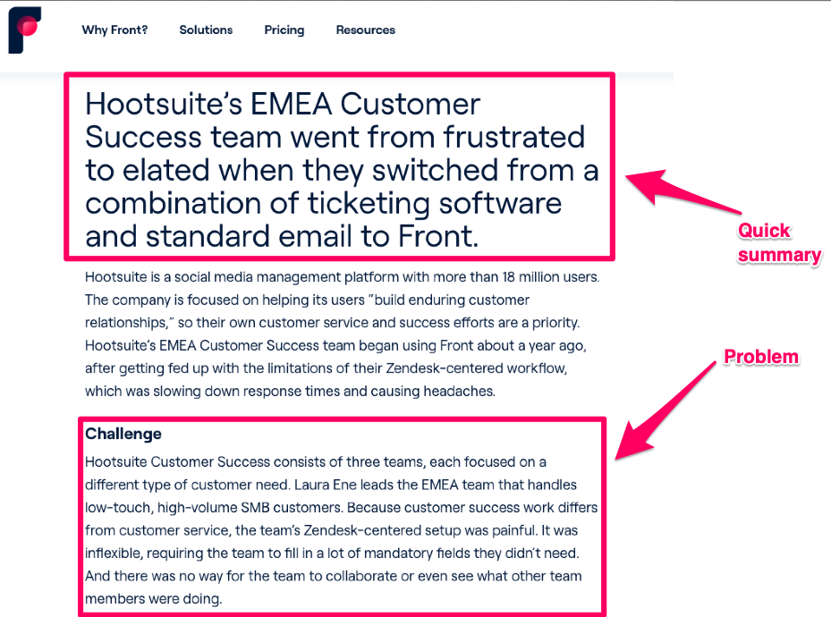 Front's article on HootSuite success story highlighting initial summary and problem details.