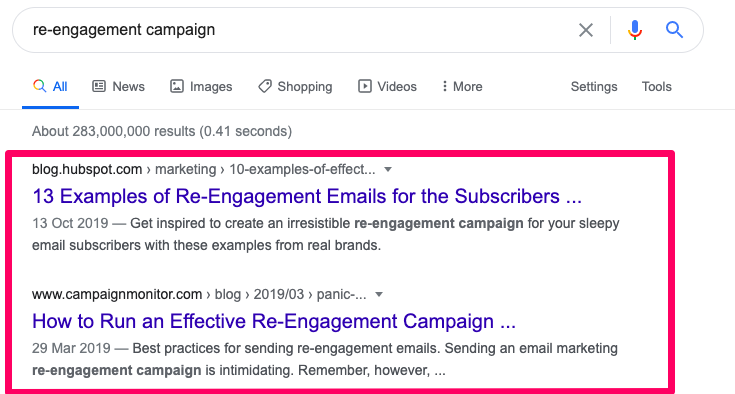 """Top two Google results for """"re-engagement campaign"""" search."""