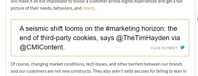 Screenshot of Tweet about third party cookies.