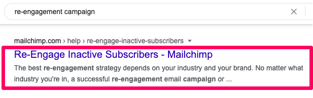 """Mailchimp Google search results for """"re-engagement campaign""""."""
