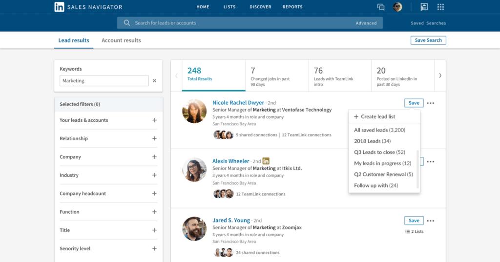 Screenshot of LinkedIn Sales Navigator