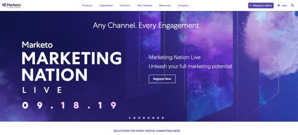B2B SaaS marketo homepage example