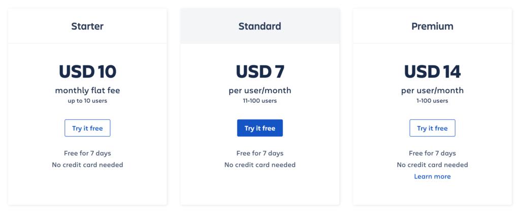 atlassian pricing example
