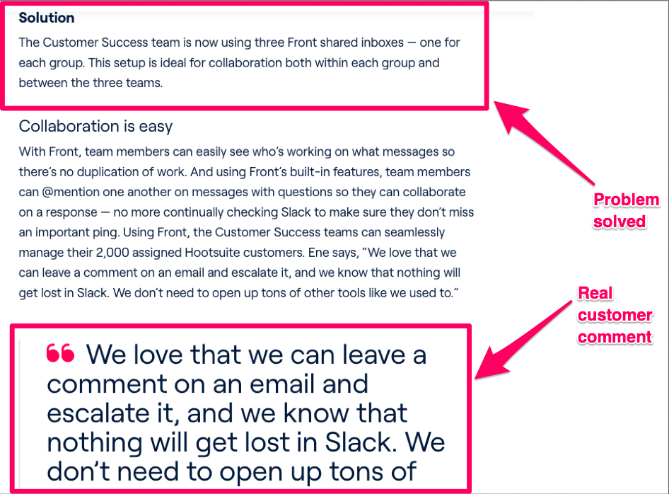 Front article on HootSuite success story highlighting problem solution and customer quote.
