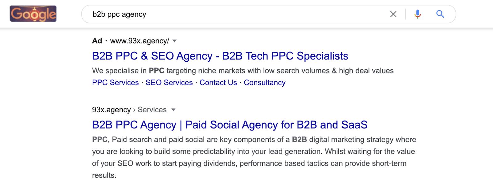 b2b ppc agency screenshor
